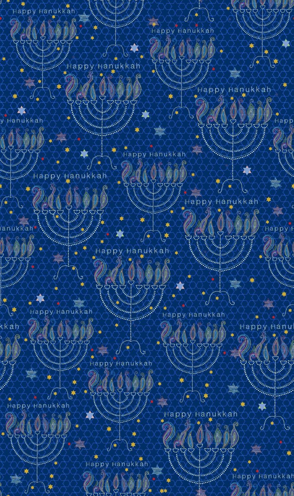 QT- Happy Hanukkah (Menorahs) Navy