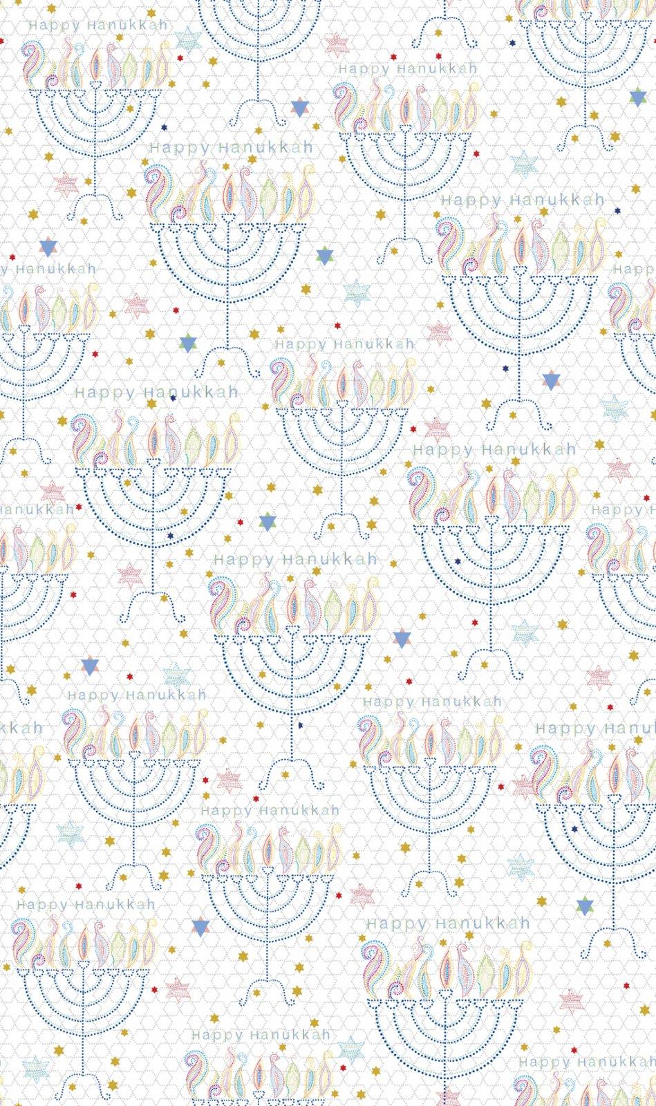 QT- Happy Hanukkah (Menorahs) White