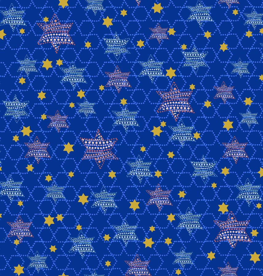 QT- Happy Hanukkah (Stars) Navy