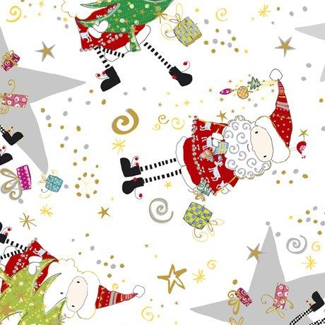 QT- Happy Christmas (Santa & Star Toss) White