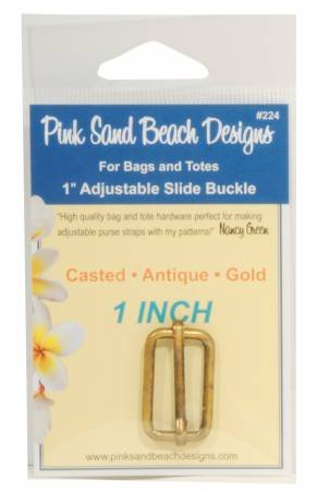 Pink Sand Beach Designs- 1 Adjustable Slide Buckle (Antique Gold)