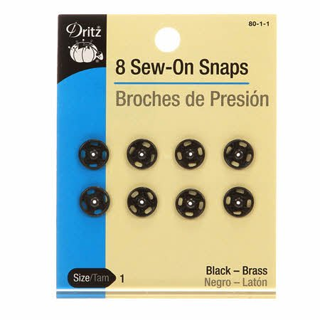 Dritz- Sew-On Snaps 8 count (Black)