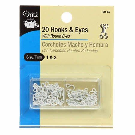 Dritz- Hooks & Eyes White Sizes 1 & 2 20 count  # 90-67