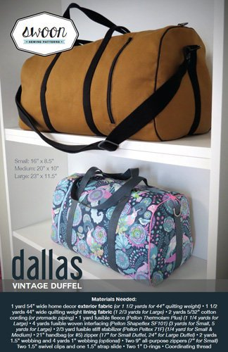 SWOON SEWING PATTERNS Dallas Vintage Duffel