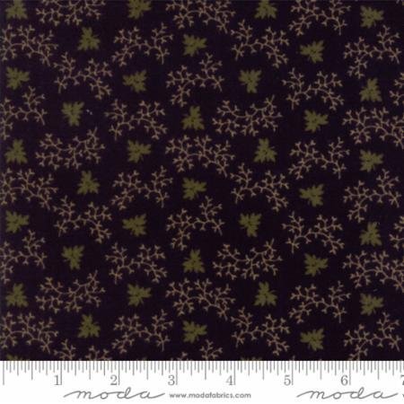 Country Road Flannel - Black w/green leaf print