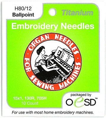 Organ Embroidery Needles -Titanium Ball Point 80/12
