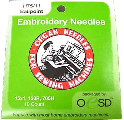 Organ Embroidery Needles - Ballpoint 75/11