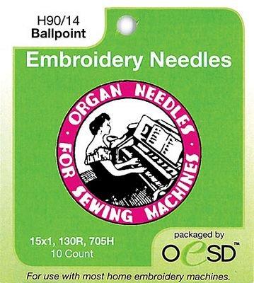 Organ Embroidery Needles - Ballpoint 90/14