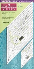 fast2cut Ruler: Fussy Cutter Ruler Set 45 Degree Diamond Guide