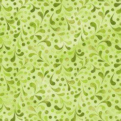 Ajisai Hydrangea -Green Feathered Print