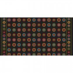 Woolies Flannel -  Salt and Pepper Border Print