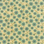 Prints Charming - Teal flower on cream