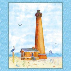 By The Sea Blue Lighthouse Panel