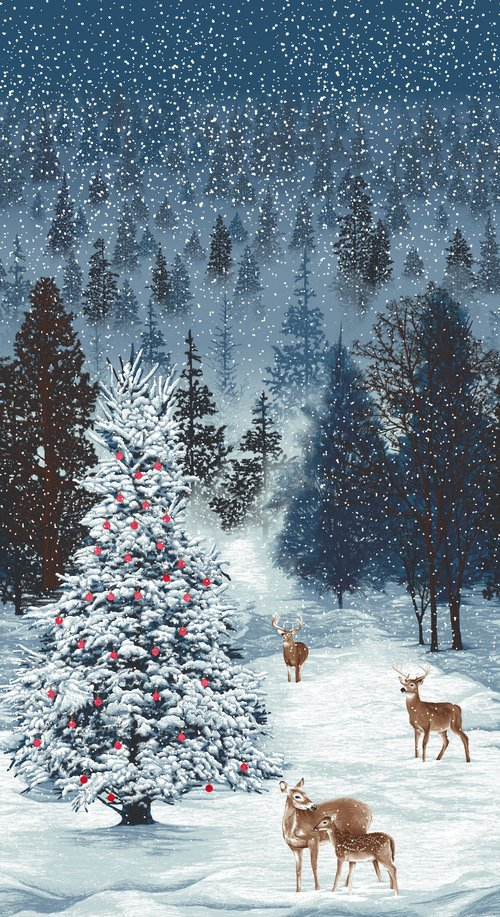 Deer And Trees Merry Berry Bright
