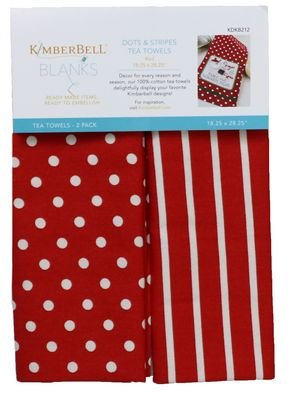 dots and stripes tea towel red