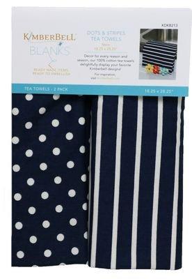 dots and stripes tea towel navy