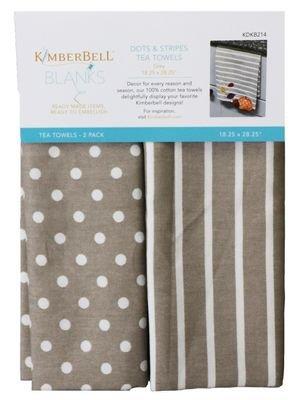 dots and stripes tea towel grey