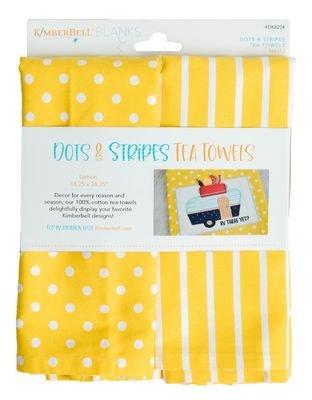 dots and stripes tea towels lemon
