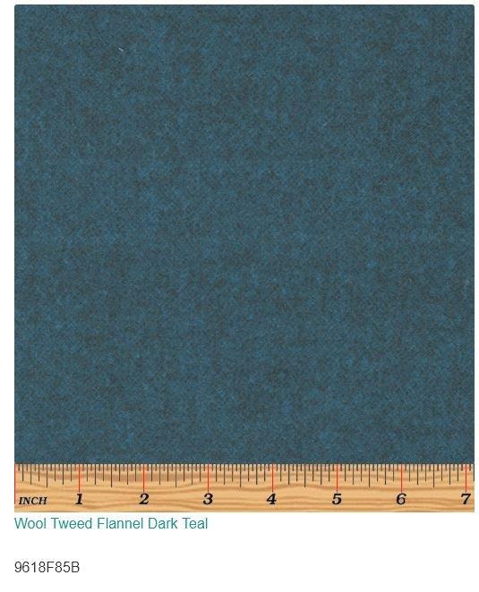 Wool Tweed Flannel Dark Teal