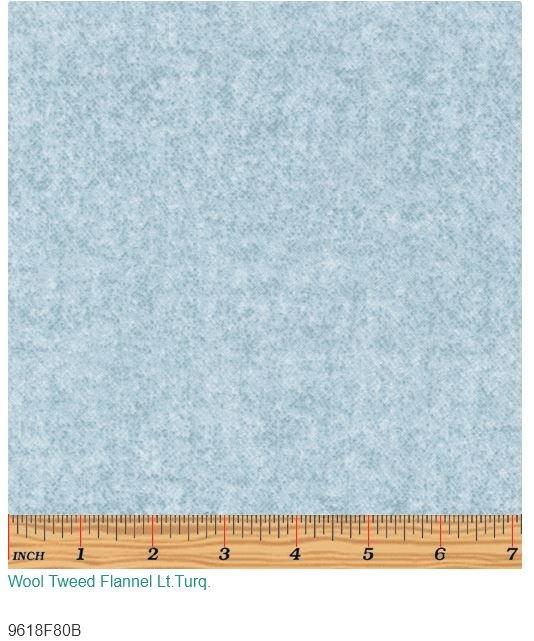 Wool Tweed Flannel Lt Turq.