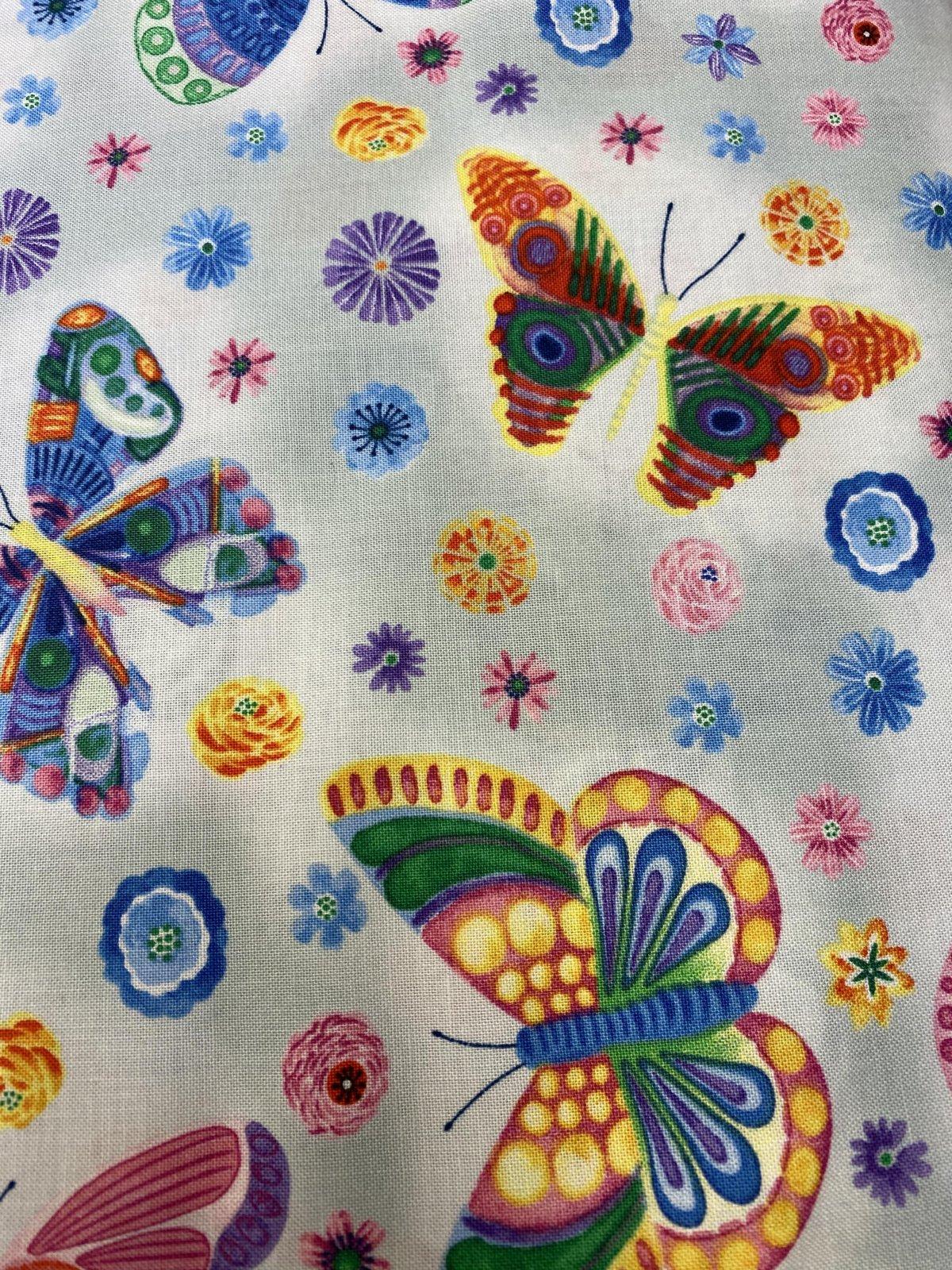 BQ Butterfly Floral - Light Gray 1397-90