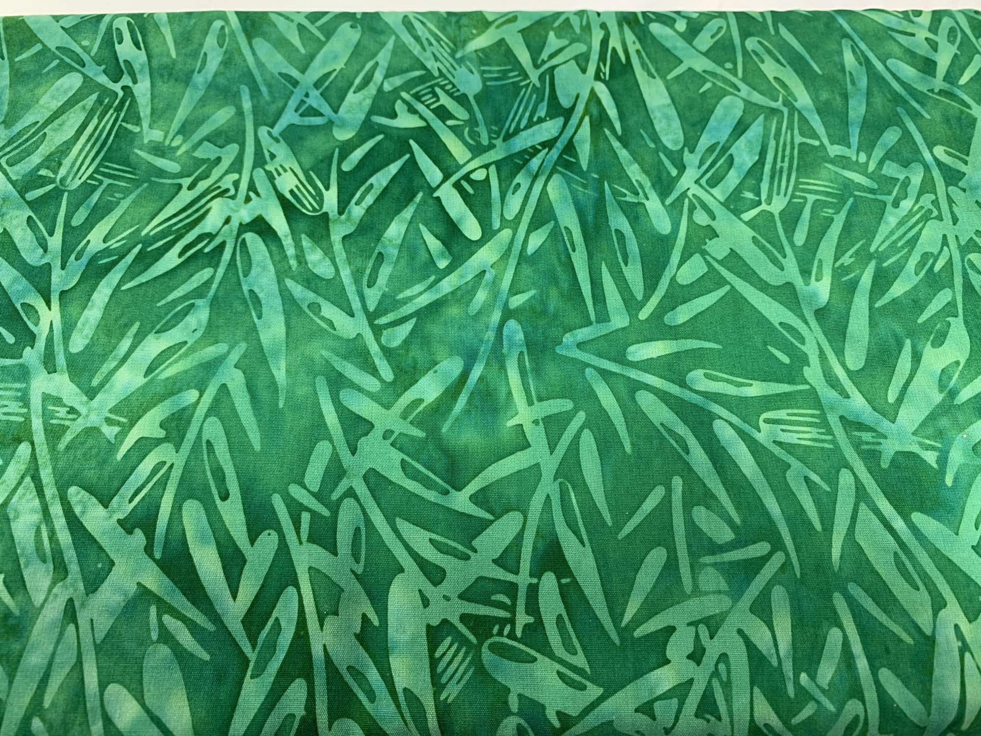 Batik Print Green Bamboo Leaves