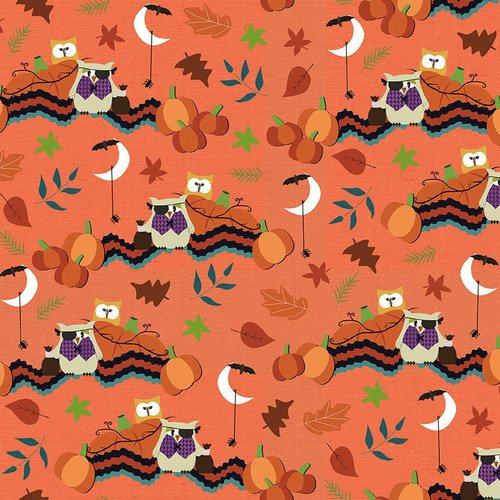 Ain't Life a Hoot - Orange Owls with Pumpkins