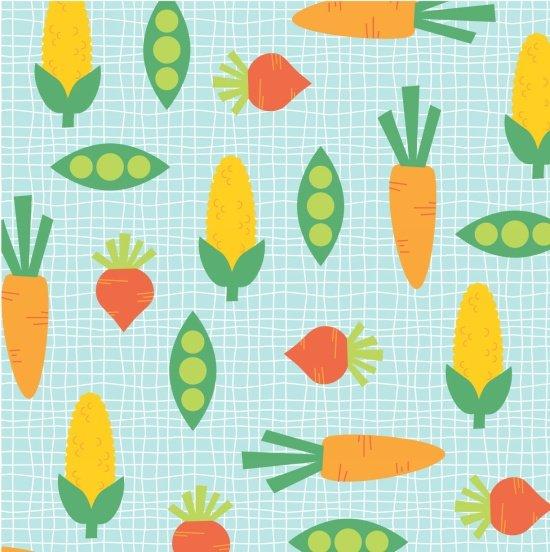 Funny Farm Peas and Carrots Blue