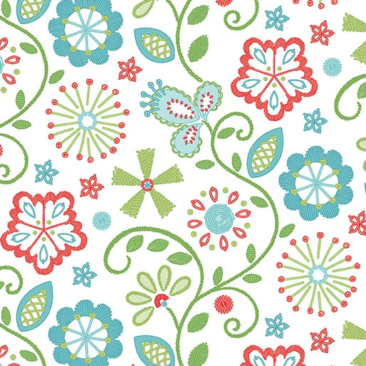Sewing Room Embroidery - white