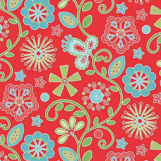 Sewing Room Embroidery - red