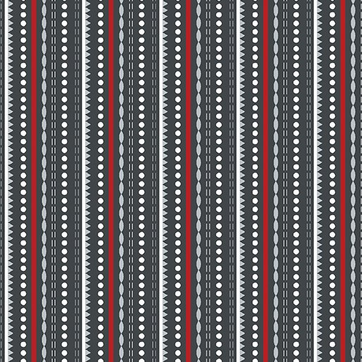 Dotted Stripe Grey - Let It Snow