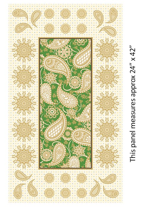 Jubilee Holiday Paisley Panel Green