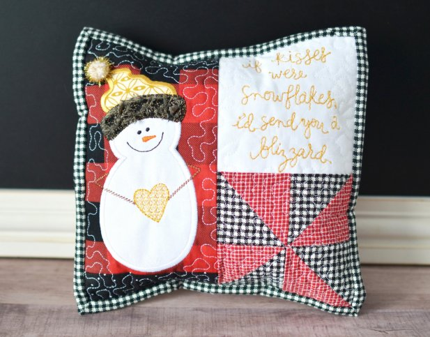 January snowflake kisses pillow