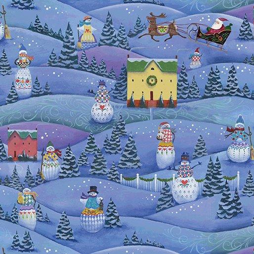 A Quilter's Christmas - Snowman Village Blue