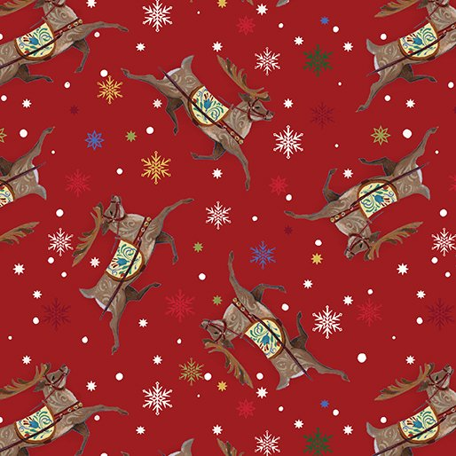 A Quilter's Christmas - Reindeer Toss Red