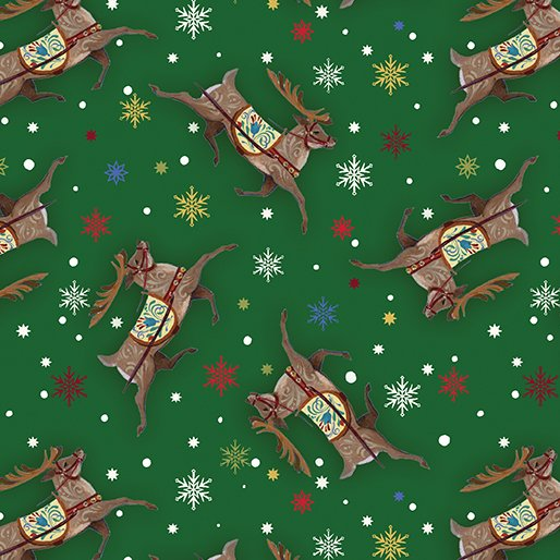 A Quilter's Christmas - Reindeer Toss Green