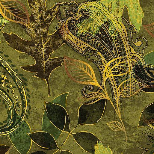 Harvest Gold - Paisley Leaf Green