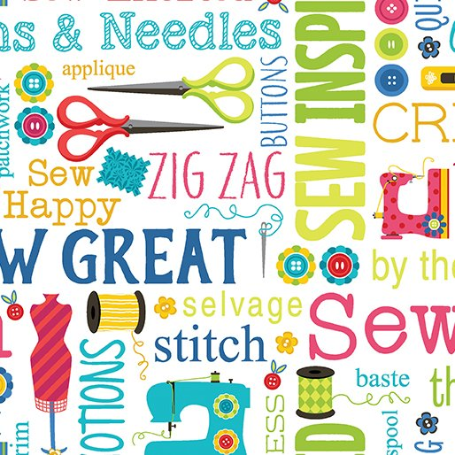 Sew Excited - Sew Wordy White