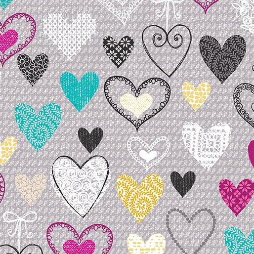 Knit Together - Knit Together Hearts Gray