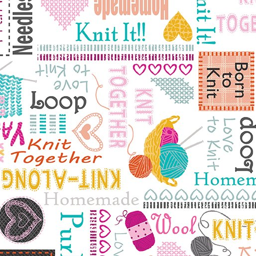 Knit Together - Words to Knit White