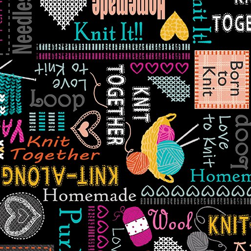Knit Together - Words to Knit Black