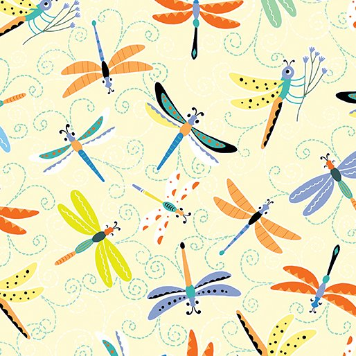 Toadily Cute Happy Dragonflies - Light Yellow