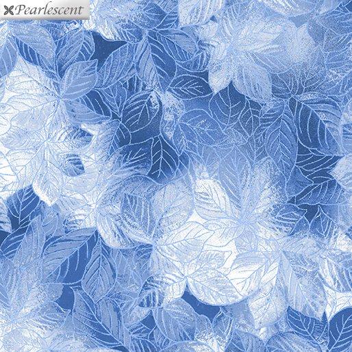 Pearl Frost Leaves - Dark Blue