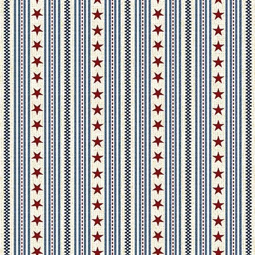 Oh My Stars Ticking Stripe - Blue