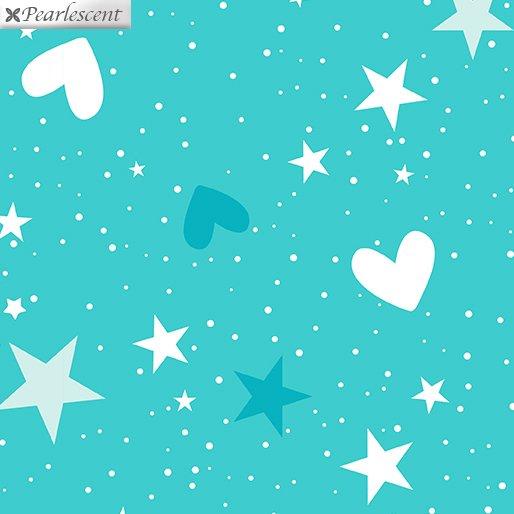 Unicorn Magic - Magical Stars & Hearts - Med. Aqua