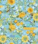 Blue Bird Blue with Flowers