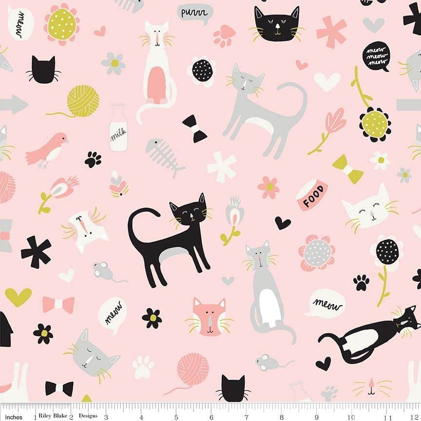 MEOW Flannel Tossed Cats Pink
