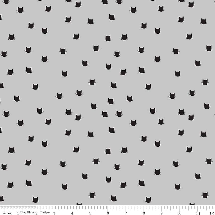 MEOW Flannel Small Cat Face Gray