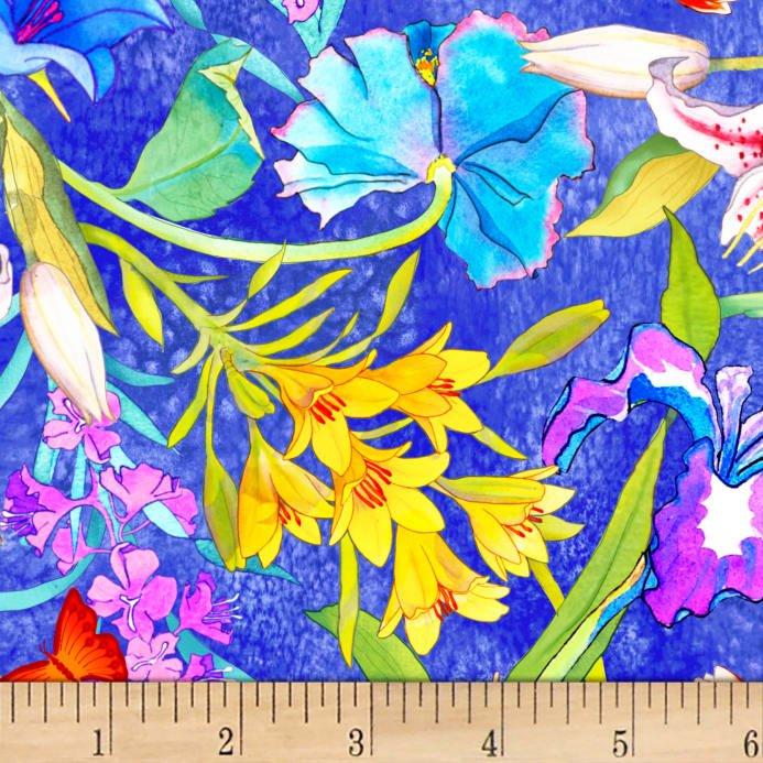 Rock Garden - Large Floral Dark Blue