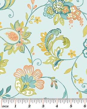 Aria - Floral Vine Blue / Peach
